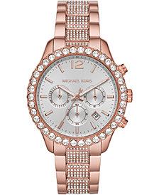 Michael Kors Women's Chronograph Layton Rose Gold-Tone Stainless Steel Bracelet Watch 42mm