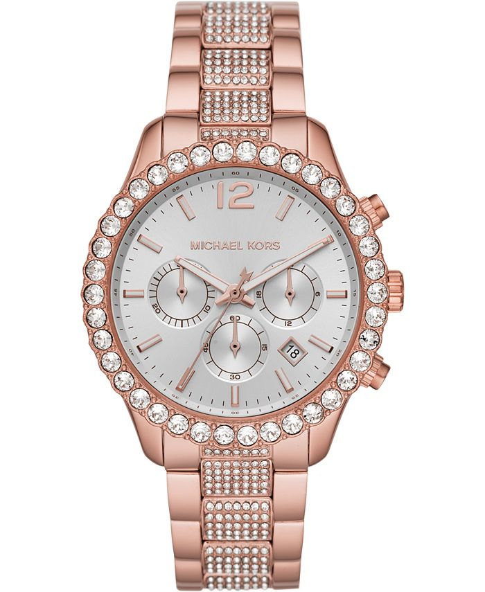 Michael Kors - Women's Chronograph Layton Rose Gold-Tone Stainless Steel Bracelet Watch 42mm
