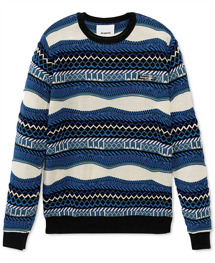 Desigual - Men's Cedric Regular-Fit Geo-Stripe Sweater
