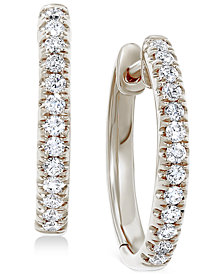 """Diamond Small Hoop Earrings (3/8 ct. t.w.), 0.6"""""""