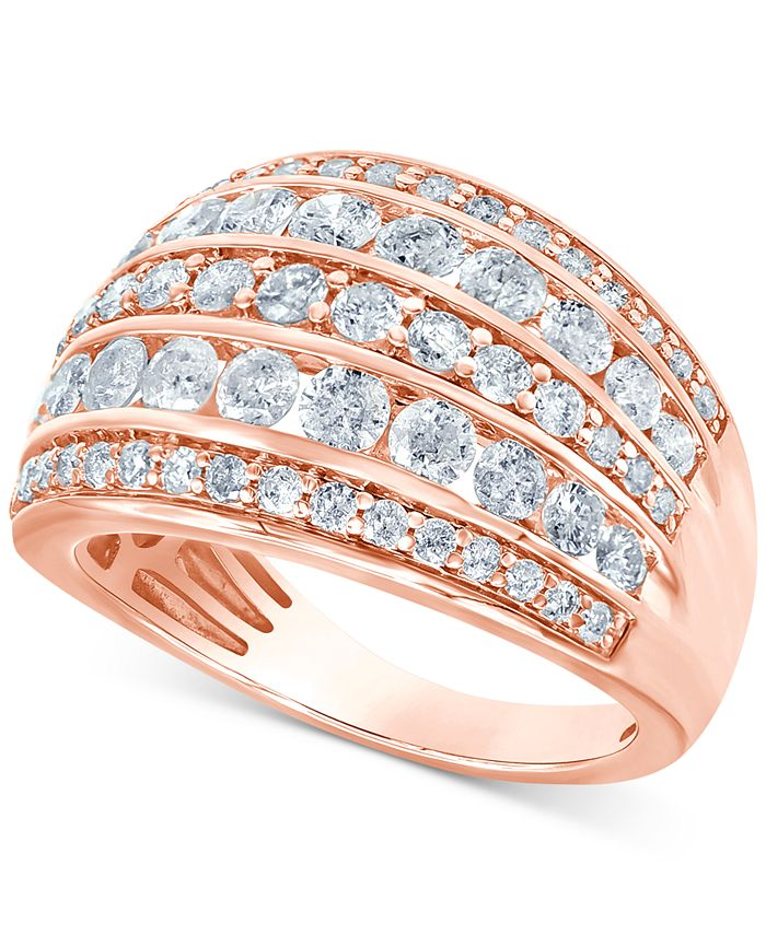 Macy's - Diamond Multi-Row Statement Ring (2 ct. t.w.) in 14k White Gold (Also available in Yellow or Rose Gold)