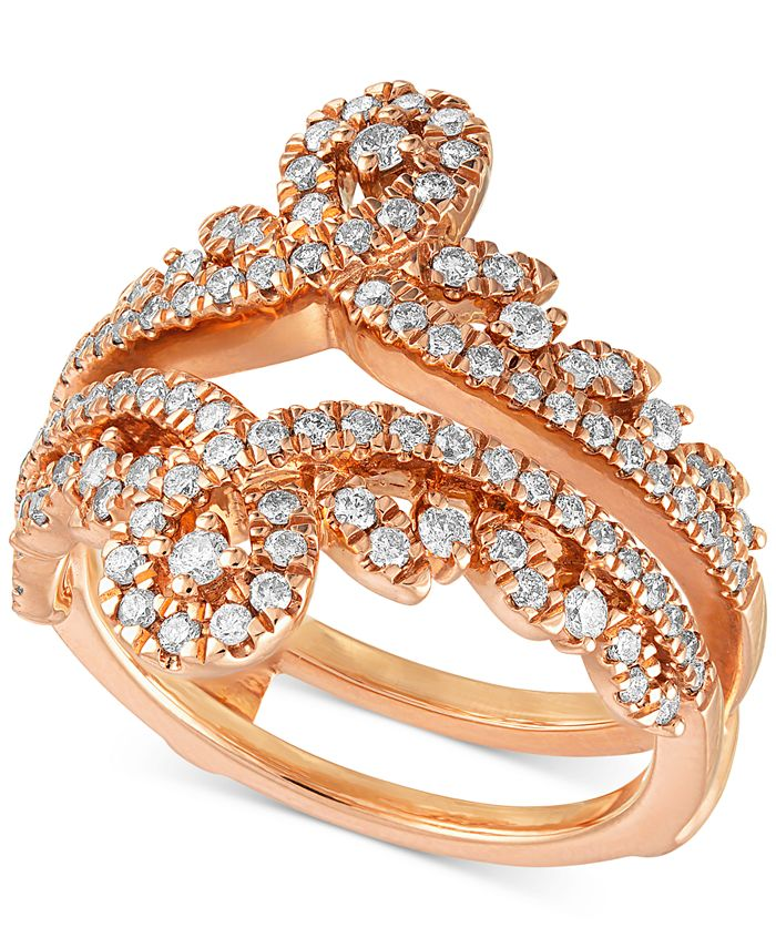 Macy's - Diamond Swirled Tiara Enhancer Ring (3/4 ct. t.w.) in 14k Rose Gold