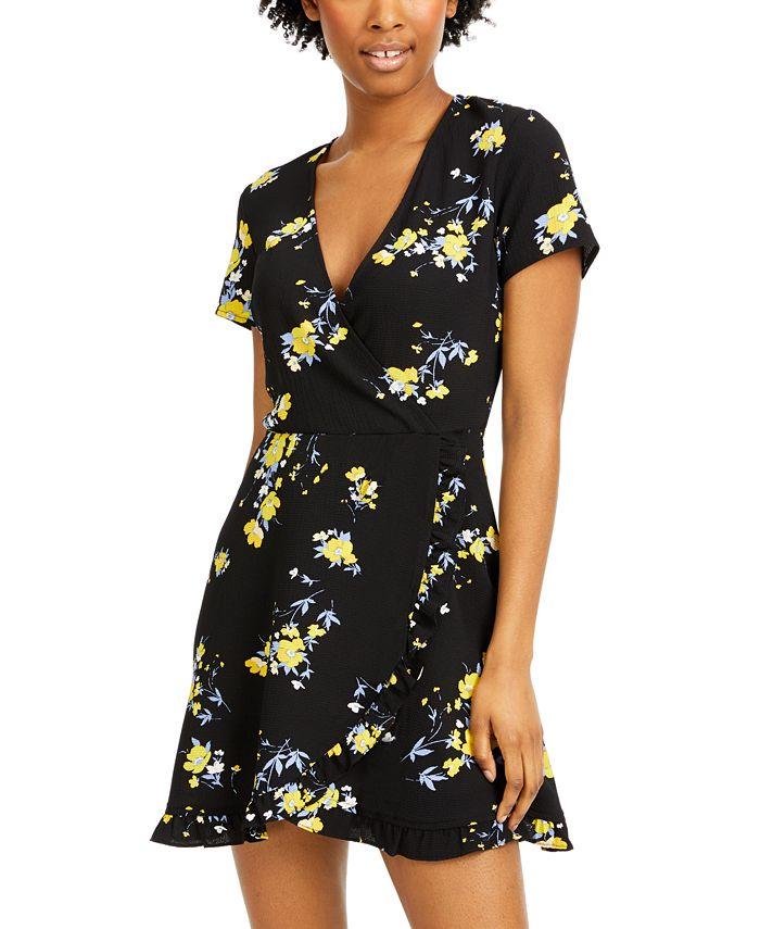 Speechless - Juniors' Floral-Print Faux-Wrap Dress