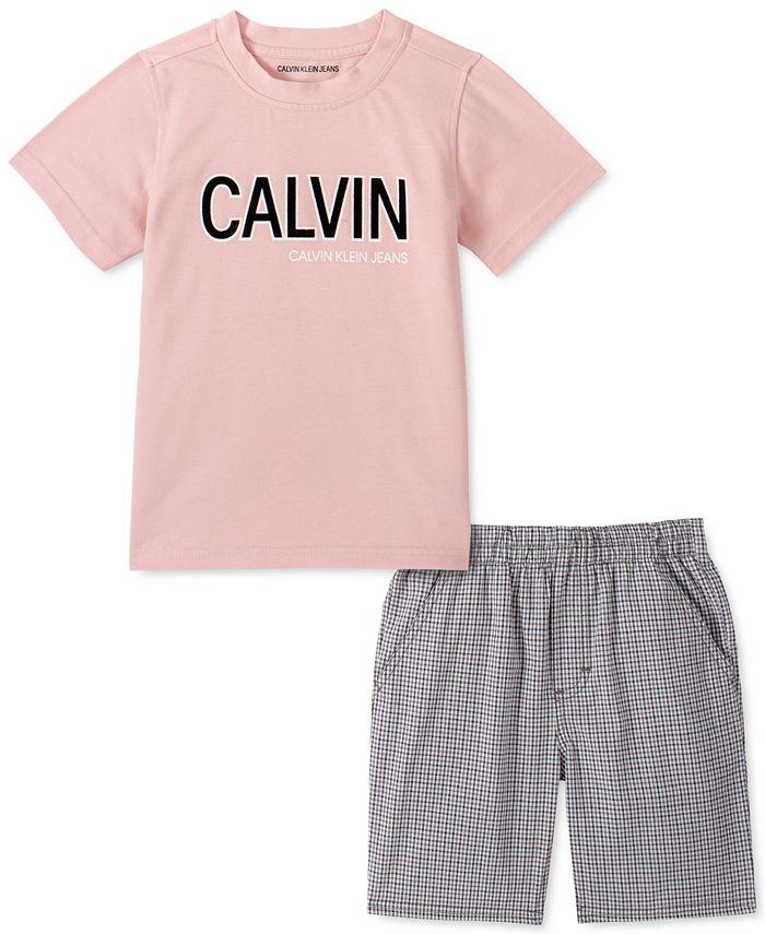 Calvin Klein - Little Boys 2-Pc. Logo T-Shirt & Check Twill Shorts Set