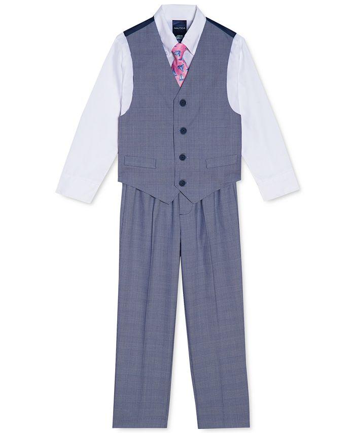 Nautica - Toddler Boys 4-Pc. Glen Plaid Vest Set