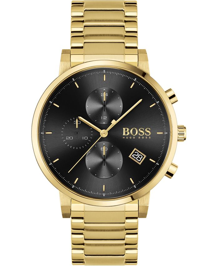 BOSS - Men's Chronograph Integrity Gold-Tone Stainless Steel Bracelet Watch 43mm