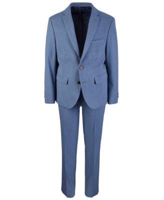 Big Boys Classic-Fit Stretch Blue/Brown Mini-Check Suit Jacket