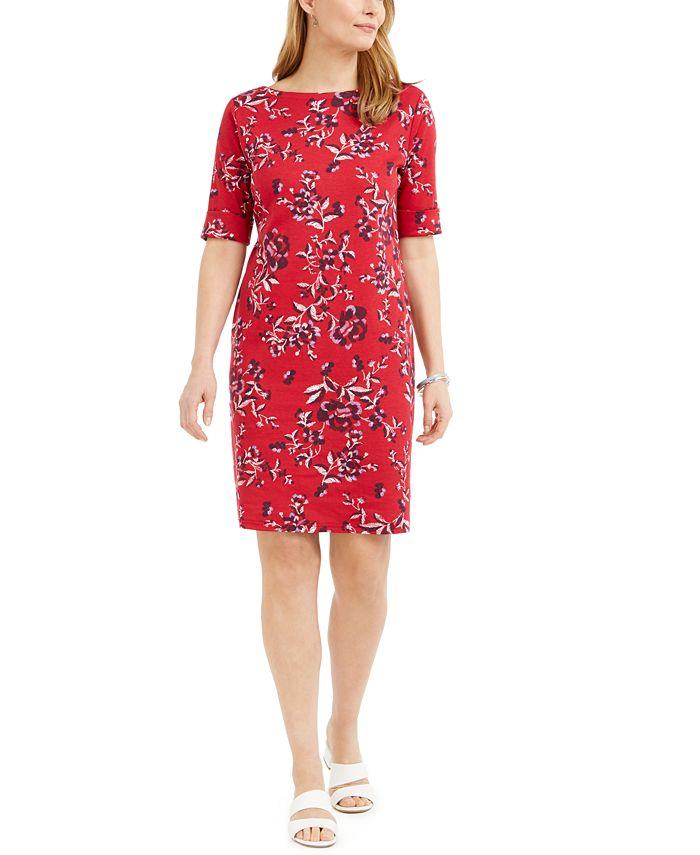 Karen Scott - Printed Boat-Neck Dress