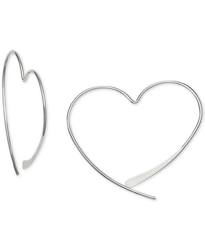 Giani Bernini - Wire Heart Threader Earrings in Sterling Silver