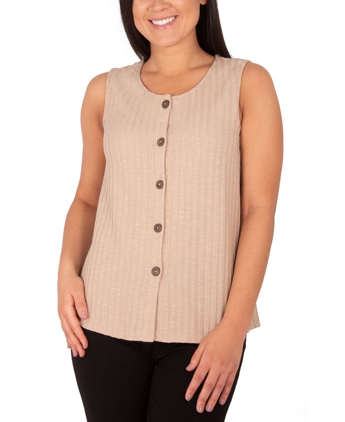 NY Collection - Textured Sleeveless Blouse