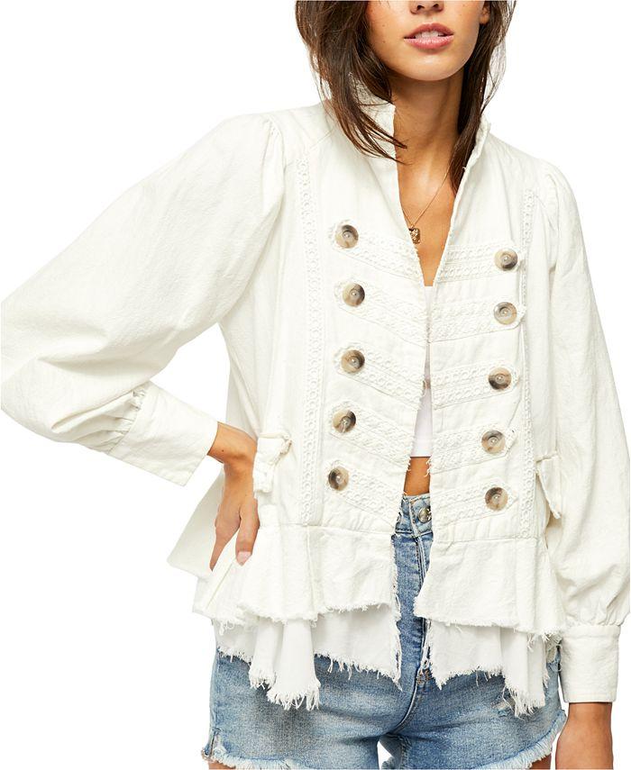 Free People - Ariana Cotton Raw-Edge Military Jacket