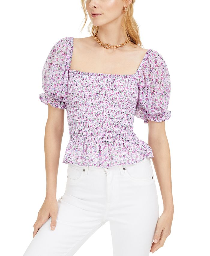 LEYDEN - Printed Smocked Puff-Sleeve Top