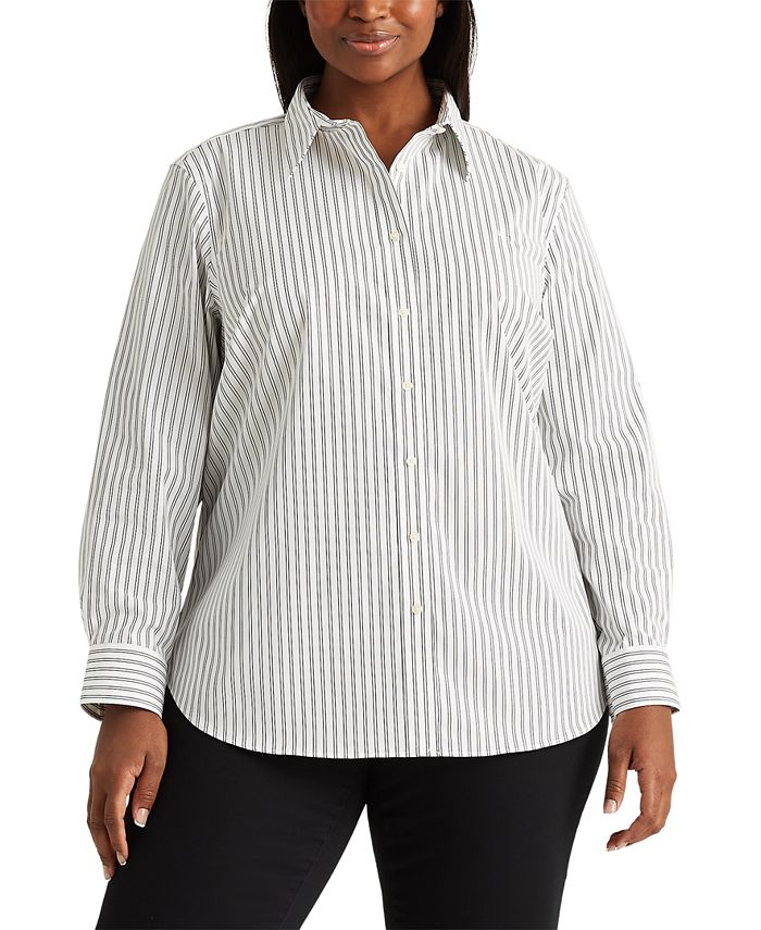 Lauren Ralph Lauren - Plus-Size Non-Iron Button-Down Shirt
