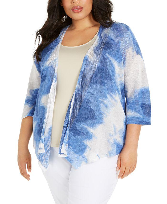 Alfani - Plus Size Printed Drape-Front Cardigan Sweater