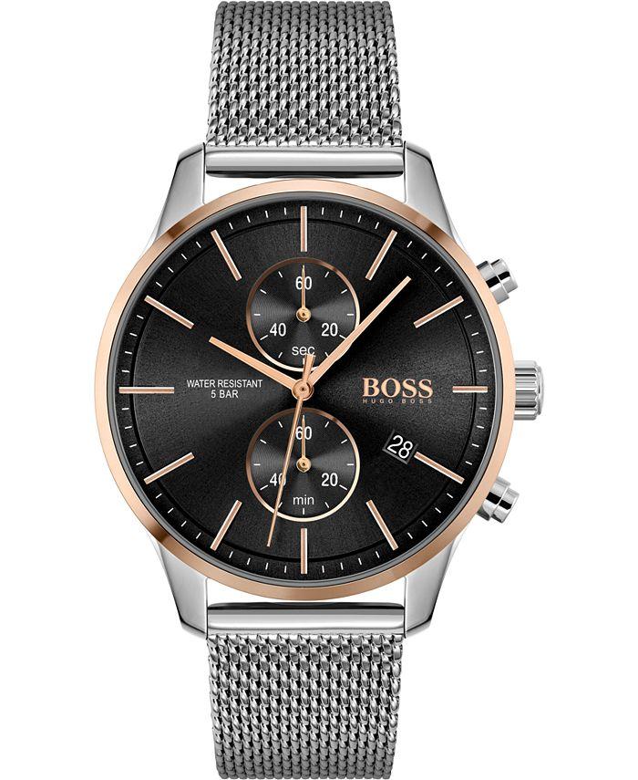 BOSS - Men's Chronograph Associate Stainless Steel Mesh Bracelet Watch 42mm