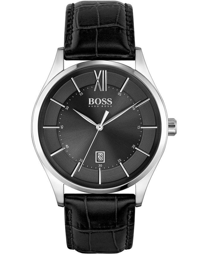 BOSS - Men's Distinction Black Leather Strap Watch 42mm