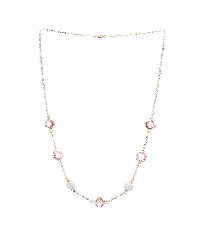 """Nina - 20"""" STATION BEZEL STONE AND PEARL NECKLACE WITH EXTENDER"""