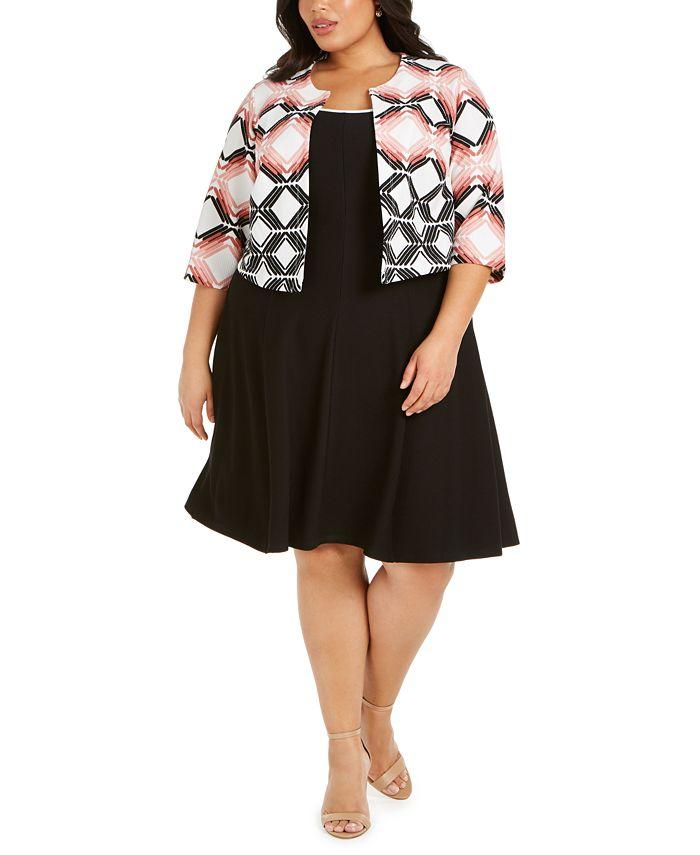 Robbie Bee - Plus Size Geometric-Print Jacket & A-Line Dress