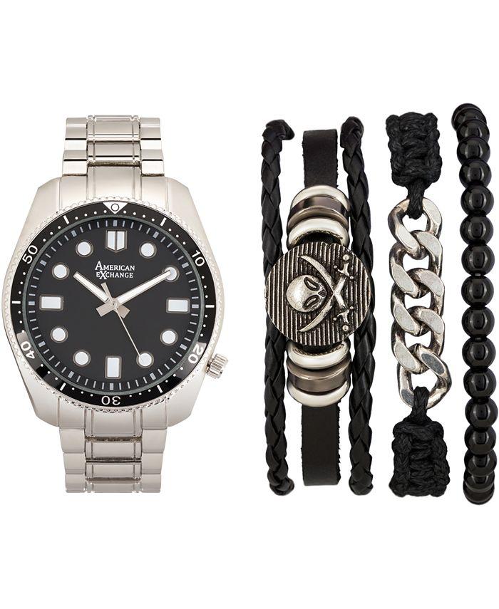 American Exchange - Men's Silver-Tone Bracelet Watch 46mm