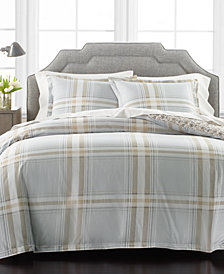 Martha Stewart Collection Percale Gray Plaid Reversible 3-Piece Full/Queen Comforter Set, Created for Macy's