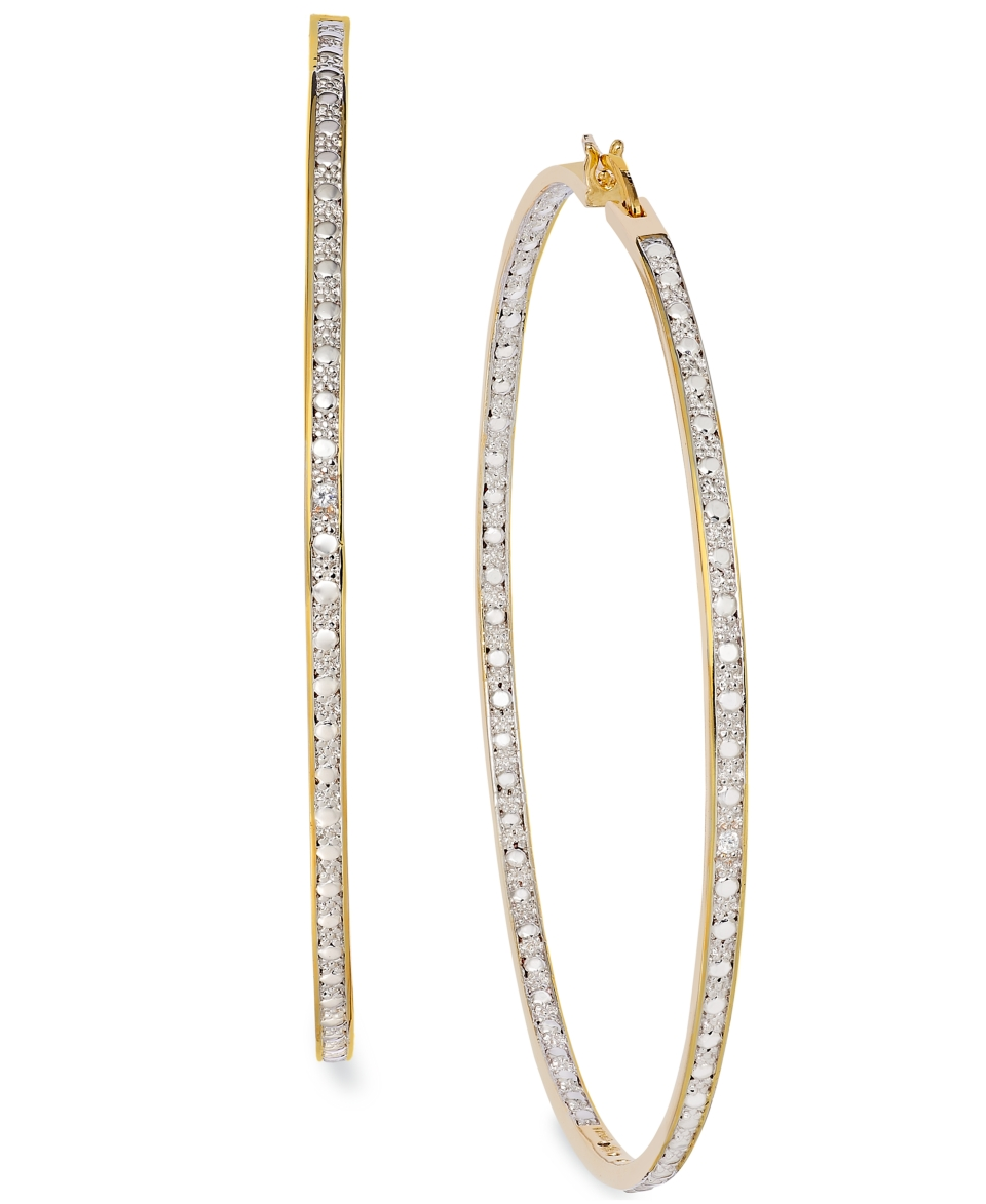 Victoria Townsend 18k Gold over Sterling Silver Earrings, Diamond Accent In and Out Hoop Earrings   Earrings   Jewelry & Watches