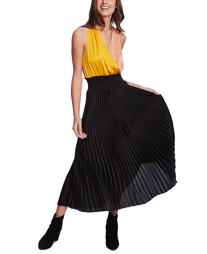 1.STATE - Colorblocked-Top Pleated Dress