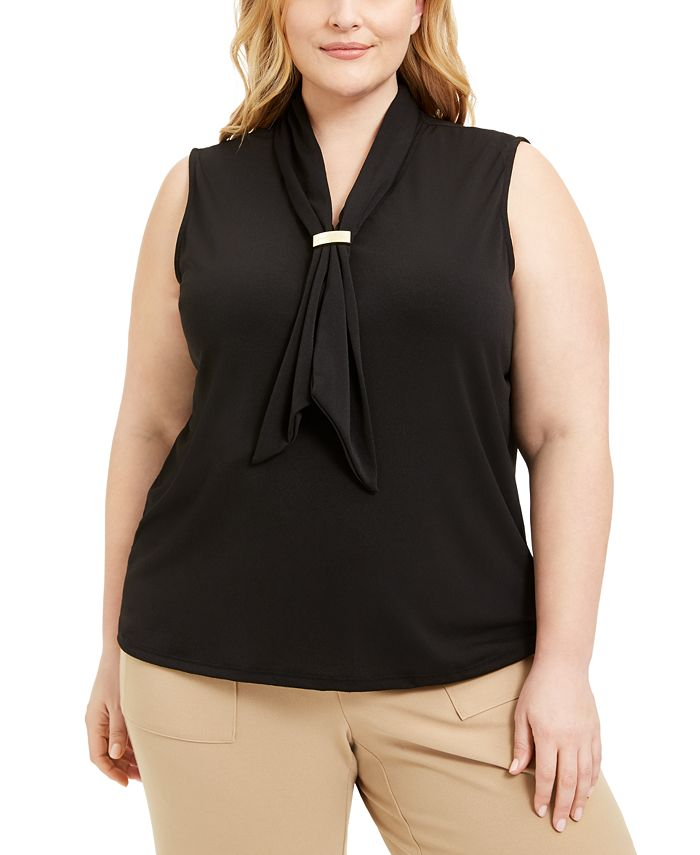 Adrienne Vittadini - Plus Size Draped Scarf Top