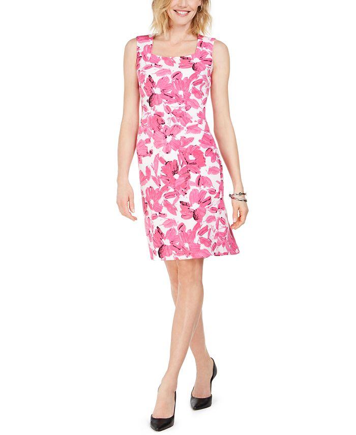 Kasper - Brushstroke Floral Crepe Dress