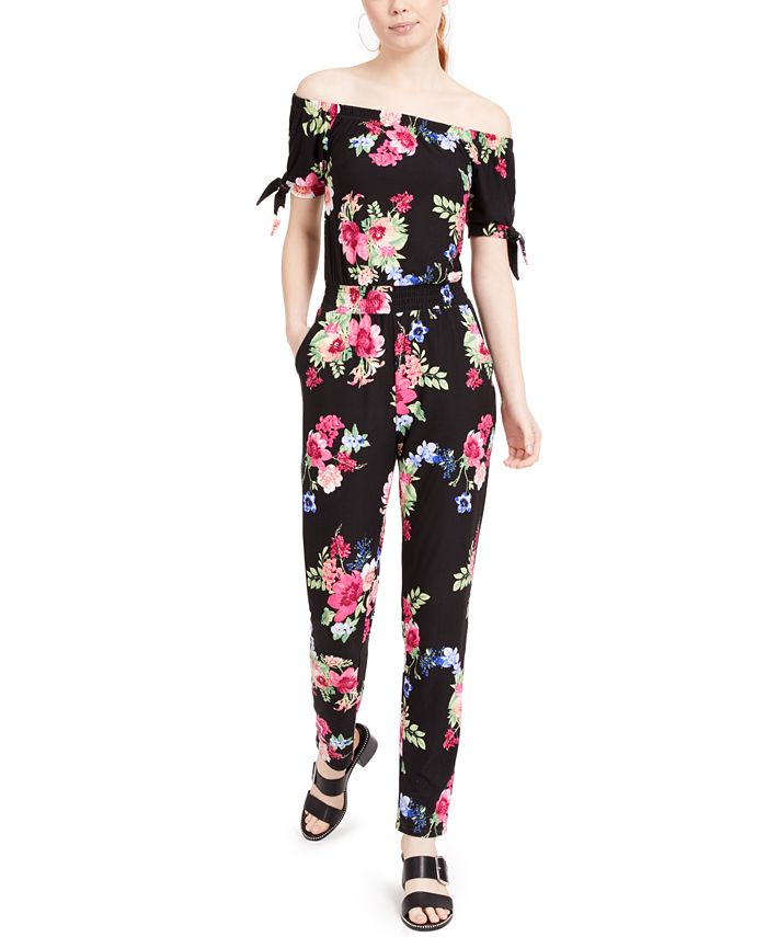 Planet Gold - Juniors' Yummy Off-The-Shoulder Jumpsuit
