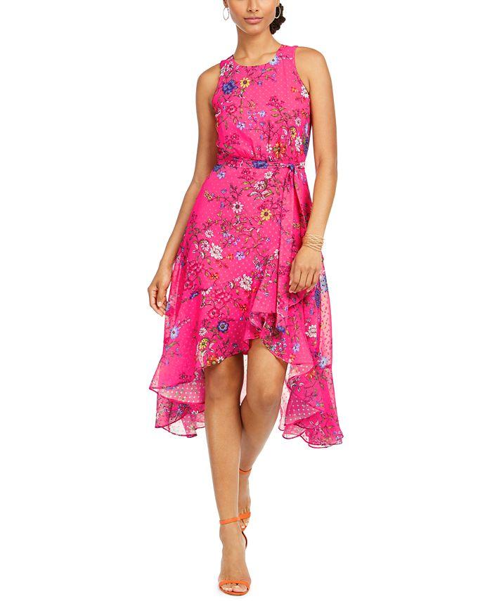 Taylor - Floral Clip Dot High-Low Dress