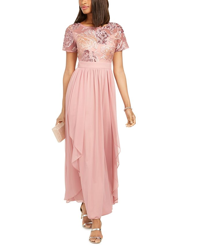R & M Richards - Sequin-Embroidered Chiffon Gown