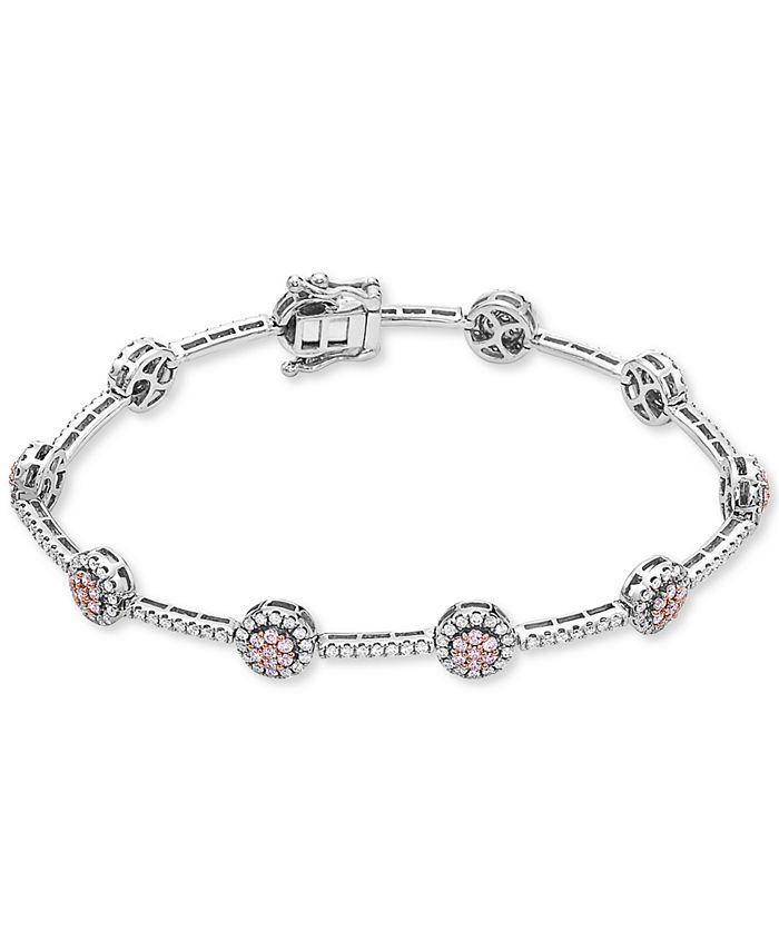 Macy's - Certified Diamond Cluster Link Tennis Bracelet (2 ct. t.w.) in 14k Rose & White Gold