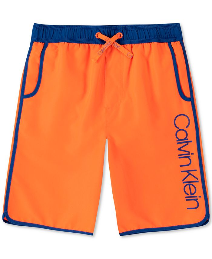 Calvin Klein - Big Boys Contrast-Trim Logo Swim Trunks