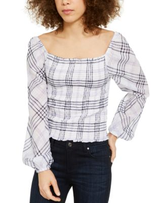 INC Plaid Smocked-Bodice Top, Created for Macy