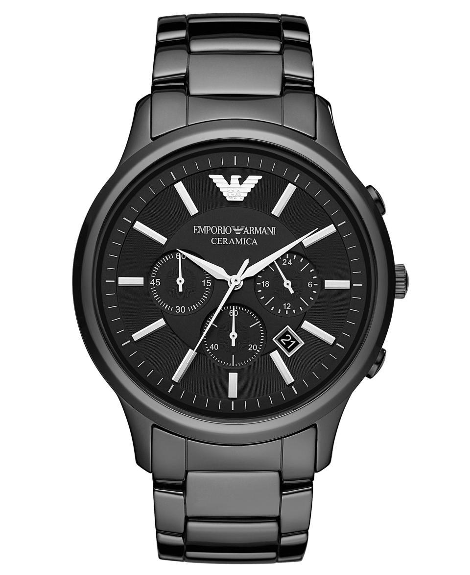 Emporio Armani Watch, Mens Chronograph Black Ceramic Bracelet 47mm AR1474   Watches   Jewelry & Watches