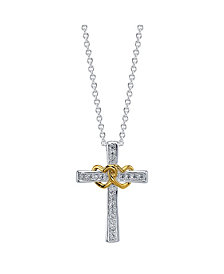 Gratitude & Grace Two-Tone Gold Flash Plated Crystal Cross and Heart Pendant Necklace
