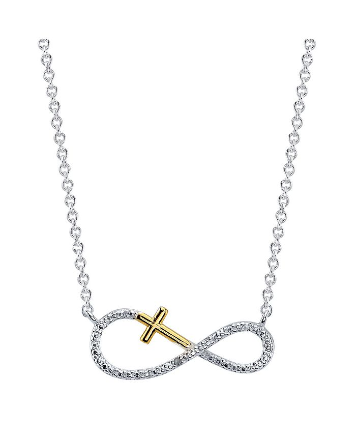 Unwritten - Two-Tone Cubic Zirconia Infinity and Cross Pendant Necklace