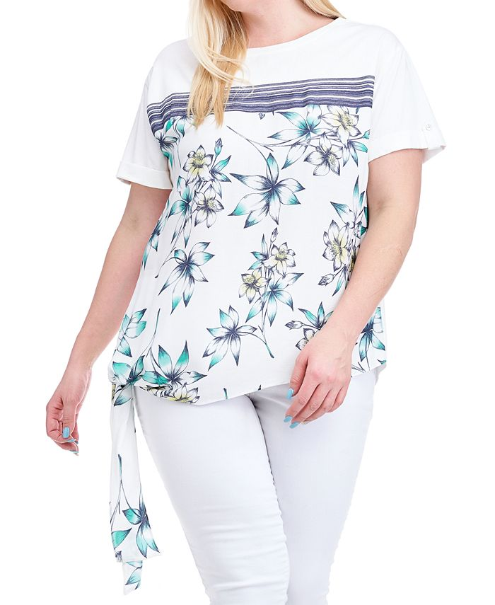 Fever - Plus Size Floral-Print Side-Tie Top