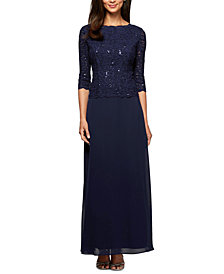 Alex Evenings Sequined Lace Gown
