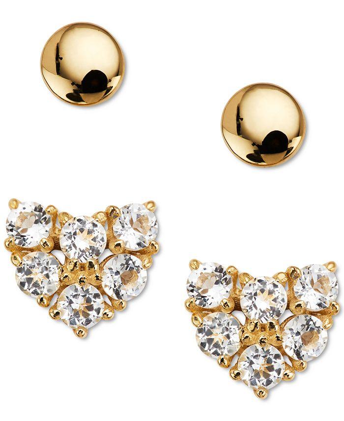 AVA NADRI - 2-Pc. Set Crystal Heart Stud Earrings