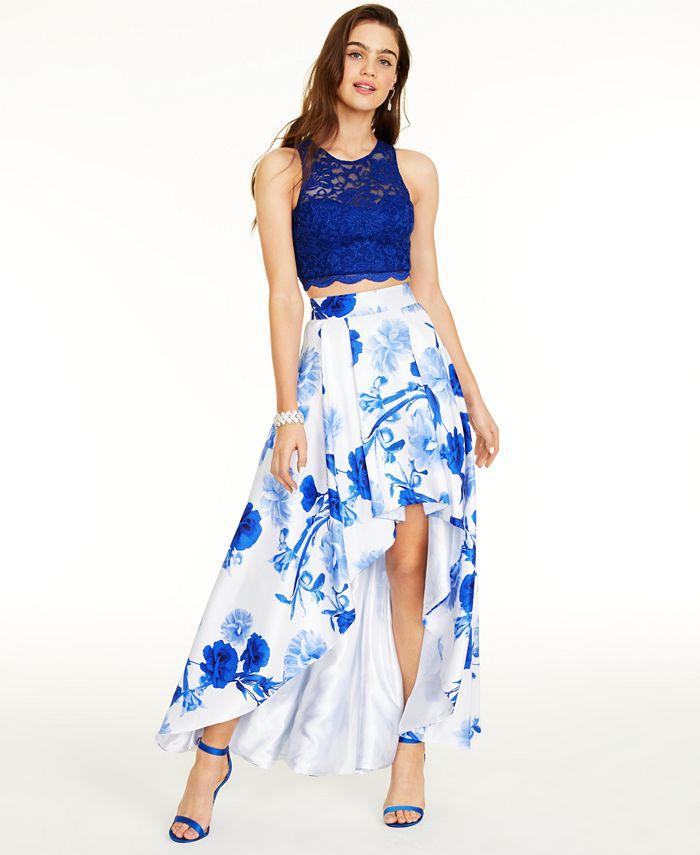 Sequin Hearts - Juniors' 2-Pc. Lace Top & Floral-Print Skirt