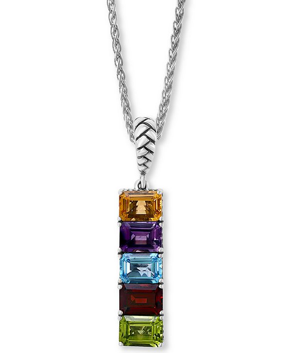 "EFFY Collection EFFY® Multi-Gemstone (5-3/4 ct.-t.w.) 18"" Pendant Necklace in Sterling Silver"