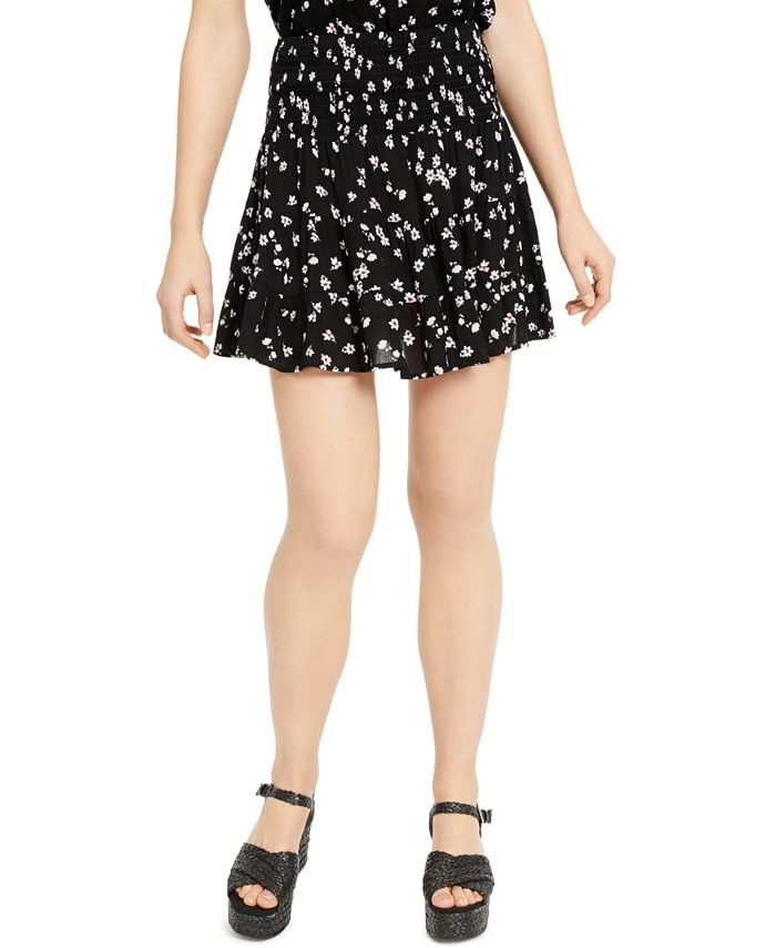 Ultra Flirt - Juniors' Printed Smocked-Waist Mini Skirt
