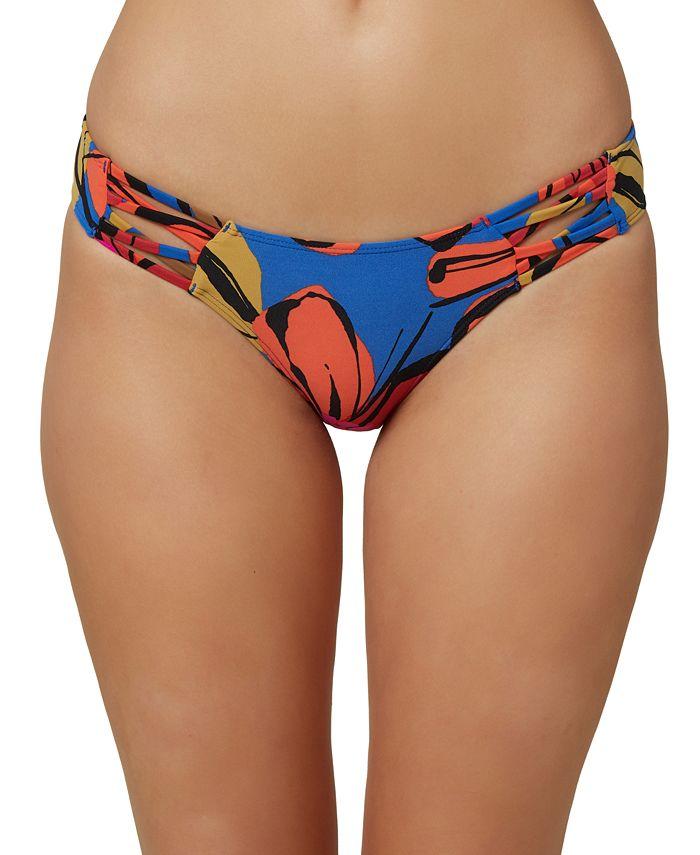 O'Neill - Juniors' Gala Printed Strappy Hipster Bikini Bottoms