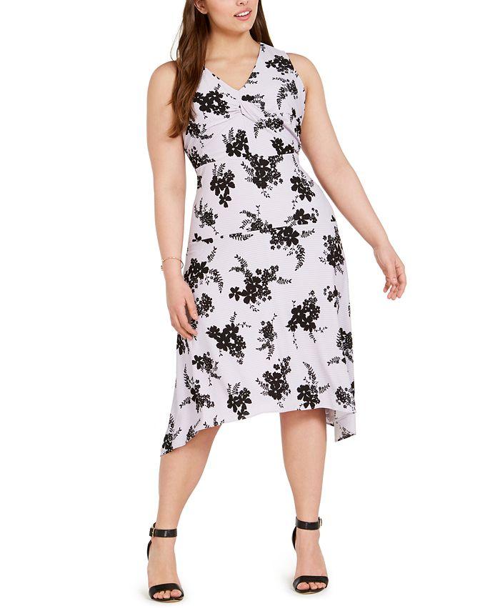 Michael Kors - Plus Size Floral-Print Handkerchief-Hem Dress