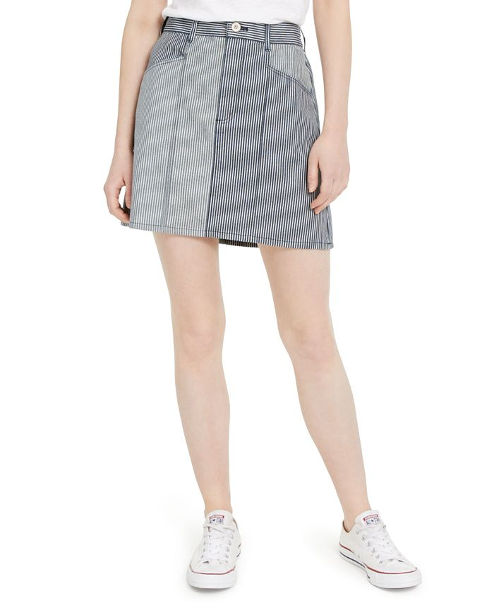 French Connection - Zina Cotton Colorblocked Striped Denim Skirt