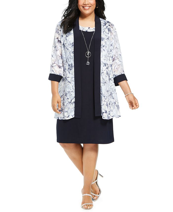 R & M Richards - Plus Size Dress & Floral-Print Jacket