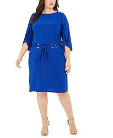 MSK Plus Size Belted Tulip-Sleeve Dress