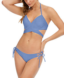 SUNDAZED Simone Underwire Wrap Bikini Top & Kylie Side-Tie Bikini Bottoms, Created for Macy's