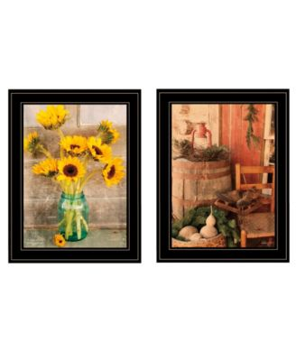 Vintage-Like Country Sunflowers 2-Piece Vignette by Anthony Smith, White Frame, 19